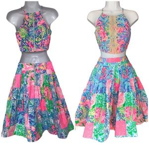 Lilly Pullitzer Skirt-Top Set In Multi Pop Up Sz00